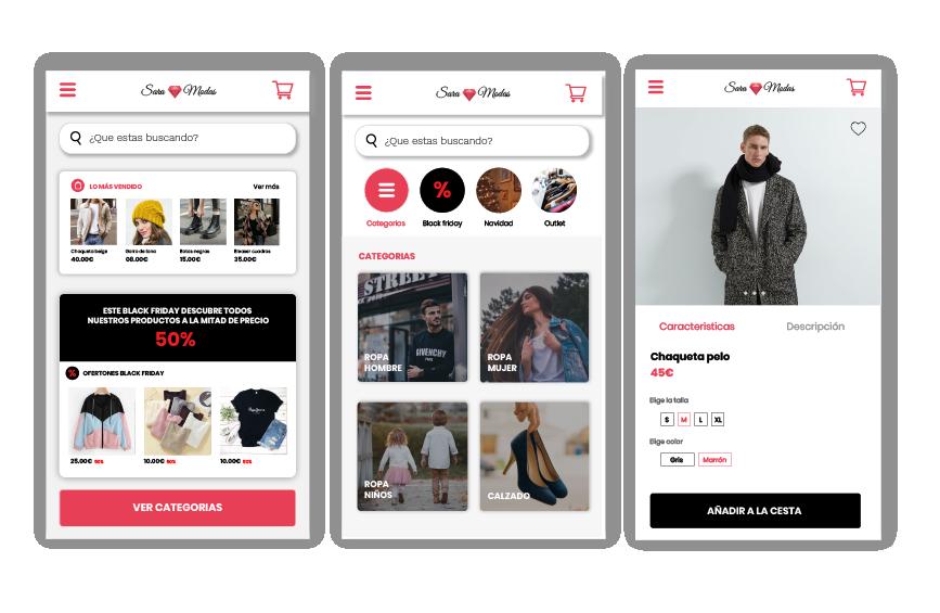 Pantallas del prototipo de la app mas web de venta